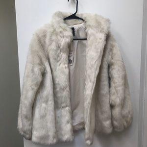 Forever 21 Premium White Faux Fur Coat